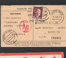 (guerre 39-45) Carte Réponse D'un Travailleur Franàais En Allemagne 1944 Avec Timbre Hitler 15pf (tPPP29678) - Unclassified