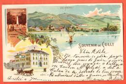 ZOT-21 RARE Litho Souvenir De Cully Hotel De Ville Lavaux Major Davel, Lac Léman.Circ. 1901 Dos Simple - VD Vaud