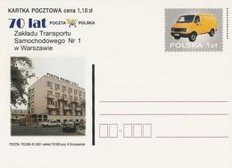 Poland Postcard Cp. 1255:  Car Transport Plant Van Trumpet - Postwaardestukken