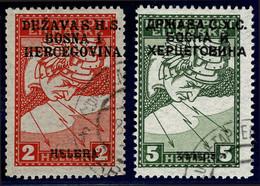 Jugoslawien 17I/18II ° Vertauschter Aufdruck = Yougoslavie Yvert J3a/4a Obl. = Yugoslavia Scott #1LE1b/2b C/o - Usati