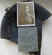 USSR Soviet Russia Pilot's Flight Helmet 1940 + Military ID 1948 + The Photo - Aviación