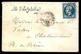 LETTRE D'AIX-EN-PROVENCE - 1864 - POUR CHATEAURENARD (Bouches Du Rhône) - 1849-1876: Periodo Clásico