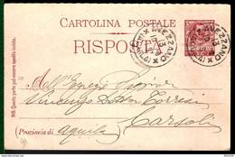 ENTIER POSTAL / GANZSACHE / POSTAL STATIONERY - AVEZZANO - ITALIE - 1906 - - Entero Postal