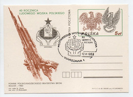 - Carte Postale WARSZAWA (Pologne) 12.10.1983 - 40 ROCZNICA LUDOWEGO WOJSKA POLSKIEGO - - Postwaardestukken