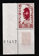 TUNISIE PROTECTORAT 1950-51 Y&T  N° 346 N** COIN DE FEUILLE NUMEROTE - Ongebruikt