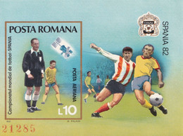 SPANIA 1982 WORLD CUP FOOTBAL ROMANIA BLOCK NONDANTELE MNH - 1982 – Espagne