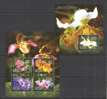 ST2726 2014 NIGER FAUNA FLOWERS ORCHIDS LES ORCHIDEES 1KB+1BL MNH - Orchideen