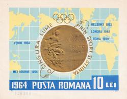 OLYMPIC MEDALS 1964 ROMANIA BLOCK NONDANTELE MNH - Altri