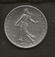 FRANCE /  Pièce De 1 Franc Semeuse Argent 1917  état : TTB - H. 1 Franco