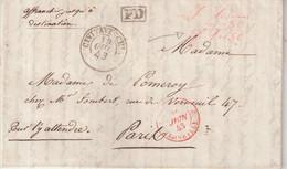 """ITALIE : MARQUE POSTALE .  ETATS PONTIFICAUX . """" CIVITAVECHIA """" . EN PD . EN NUMERAIRE POUR LA FRANCE . 1843 . - Estados Pontificados"""