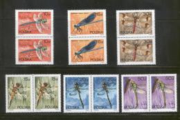 POLAND 1988 DRAGONFLIES SET OF 6 NHM PAIRS INSECTS DRAGONFLY - Ongebruikt