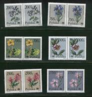 POLAND 1990 ENDANGERED PLANTS SET OF 6 NHM PAIRS FLOWERS FLORA - Gebruikt