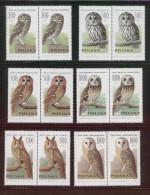 POLAND 1990 OWLS SET OF 6 NHM BIRDS HORIZONTAL PAIRS - Ongebruikt