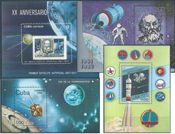 C2168 Cuba Space Philately Science Cooperation Manned Flight Satellite Celebration 4xS/S MNH Lot#494 - Nordamerika