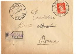 ITALIE YT N°235 SEUL SUR LETTRE RECOMMANDEE OBLITEREE IRSINA POUR BENITO MUSSOLINI - Marcofilía