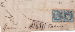 France - Y&T 29 En Paire Obl. GC 5005 Alger Sur Fragment - Marque Postale BM Boîte Mobile Encadré - 1869 - 1863-1870 Napoleon III With Laurels
