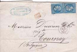 France - Y&T 22 X 2 GC 1334 Douai Sur Pli Vers Tournay (≠ Tournai) En Belgique - 1865 - 1862 Napoleon III