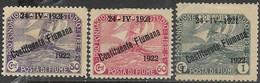 Fiume 1922  Sc#166-8  Overprints  MH   2016 Scott Value $7.20 - Fiume