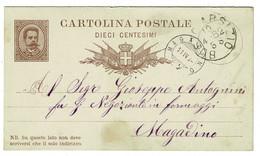 Ref 1490 - Early Italy Postal Stationery Card - Used In 1882 To Magadino Lago Maggiore - Entero Postal