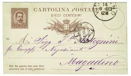 Ref 1490 - 1882 Italy Postal Stationery Card - Used In 1883 To Magadino Lago Maggiore - Entero Postal