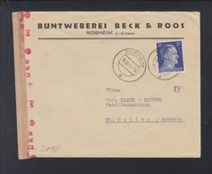 Dt. Reich Elsass Couvert 1942 Rosheim Nach Schweiz Zensur - Storia Postale