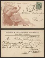 """Carte Postale - Exposition Universelle De Liège (1905) + PUB """"Forges & Platineriers De Chênée"""" / Voyagée - Liège"""