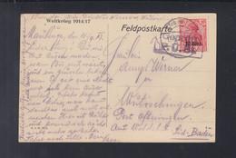 Dt. Reich Besetzung Belgien AK 1917 Maubeuge Nach Baden  Geprüft - Bezetting 1914-18