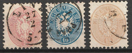 Österreich, Austria  1863  5Kr, 10Kr, 15 Kr.  MiNr. 32,33,34 Gestempelt - Usados