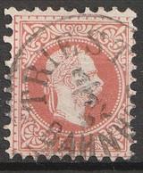 """Österreich, Austria  1863 5 Kr. Feiner Druck  MiNr. 37 II A """"TRIEST BAHNHOF"""" - Usados"""