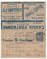 Carte-lettre Annonces 15c Sage Complète Et En TTB état - Annonces De Dijon - Kaartbrieven