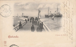 Oostende , Ostende ,  L' Entrée Du Port ,( N° 1243 ) Barque De Pêche  +  Malle ,( Circulé En  1897 ) - Oostende