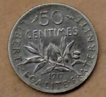 50 Centimes La Semeuse 1917 - G. 50 Céntimos