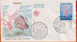 FDC -Editions  Ma # Maroc-Marokko-Morocco-1982 (N° Yvert 935 ) Faune Marine - Corail Rouge - Rote Koralle - - Marruecos (1956-...)