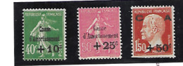 France Série N° 253 à 255 Neuve Sans Charnière - Unused Stamps