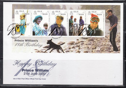 Isle Of Man - 2000 Prince Wiiliam S/sheet On Fdc - Familias Reales