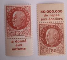 Pétain : Timbres Neufs, 1 Vignette Haut, 1 Vignette Bas. - Publicidad