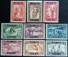 Ruanda Urundi 1930 Protection Medicale Medecine Congo Belge Surchargé Overprinted Yvert 81-89 * MH - 1924-44: Ungebraucht