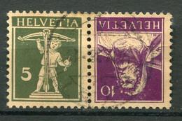 21935 SUISSE N°242b° 5c.vert S. Chamois Et 10c. Violet Foncé S. Chamois Tête-bêche    1930  B/TB - Tete Beche
