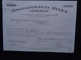 AFRIQUE DU SUD - DAGGAFONTEIN MINES LIMITED - TITRE DE 87 ACTIONS DE 5 SHILLINGS - LONDRES 1949 - Ohne Zuordnung
