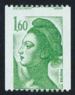 (1)  Beau Piquage A Cheval Liberté De Gandon Roulette N°2222. 1,60 Vert N**sans Charnière - 1982-90 Liberté De Gandon