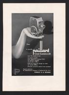 Pub Papier 1942  Cinema Camera PAILLARD Cameras Perot Sa Bienne - Advertising
