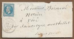 BRANDON : 1870 : GC 4801 Sur Lettre Avec CàD Type 24  + Boite Rurale  C  ( Saône Et Loire ) : - 1849-1876: Periodo Clásico