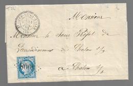 St LOUP DE LA SALLE  : 1872 :  GC 6008 + CàD  Type 24 Sur Cérès 25c Bleu ( N°60 )   ( Saône Et Loire ) : - 1849-1876: Periodo Clásico