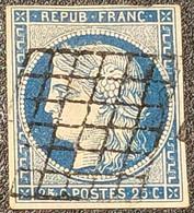 Cérès N° 4 (Variété, Tache Sur La Tête) Avec Oblitération Grille De 1849  TB - 1849-1850 Ceres