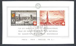 1952 Suisse FÊTE NAT.  POUR LES SAMARITAINS ET LE DON NATIONAL + Reproduction Réduite TB - Blokken