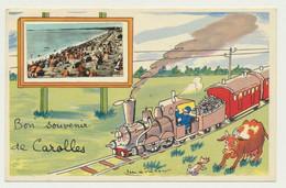 Carte Fantaisie  De CAROLLES - Illustrateur Signé Jean De Pressac - Bon Souvenir - Autres Communes