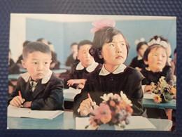 Mongolia.  Tipical School - Children, Boy And Girl   - Old Postcard 1970s - Mongolia