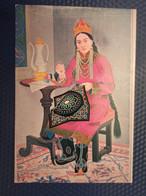 Old Postcard Mongolia  - Woman Embroidering -  -  National Costume 1970s - Mongolia