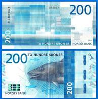 Norvege 200 Couronnes 2016 Norway Que Prix + Port Saumon Poisson Salmon Fish Banknote Paypal Bitcoin OK - Norway