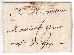 MARQUE POSTALE PRECURSEUR ST MARCELLIN SUR LAC DU 16 JUIN 1786 - 1701-1800: Precursori XVIII